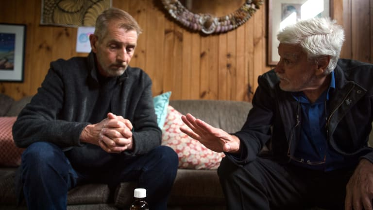 Cancer sufferer Ray Godbold, left, meets Dr Rodney Syme, of Dying with Dignity Victoria.