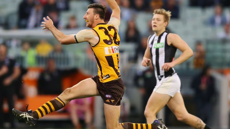 Game changer: Jack Fitzpatrick's late goal sealed a tense win against Collingwood.
