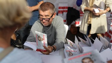 Czech billionaire and leader Andrej Babis meets with his supporters during a campaign rally in Prague, Czech Republic.