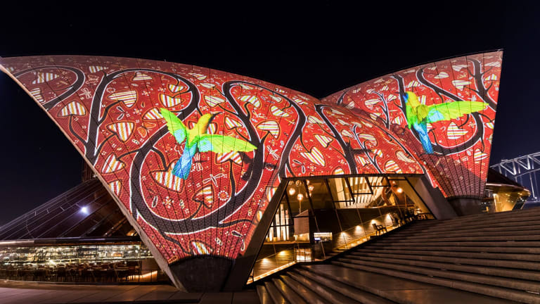 Indigenous art will be displayed on the sails of the Opera House every evening.