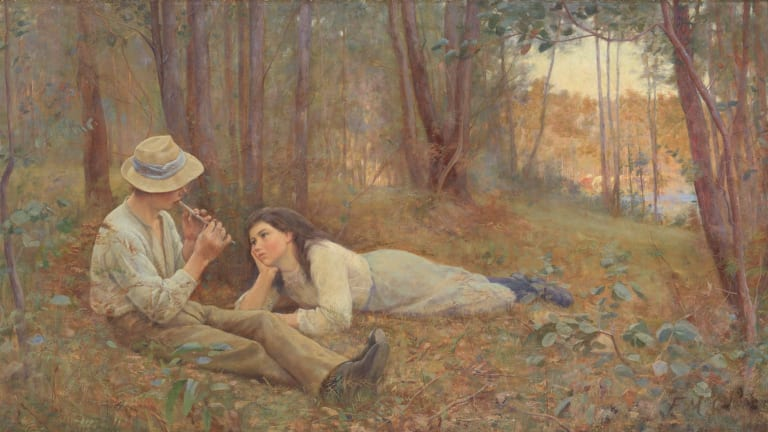 Frederick McCubbin Bush Idyll 1893, oil on canvas, kindly lent from a private collection.