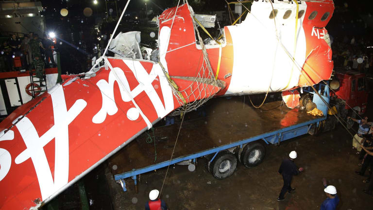 Wreckage of part of the ill-fated AirAsia Flight 8501 that crashed in the Java Sea in December 2014.