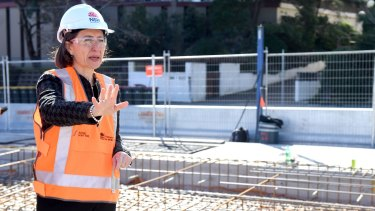 Premier Gladys Berejiklian inspecting the light rail construction which has closed off traffic in George Street.