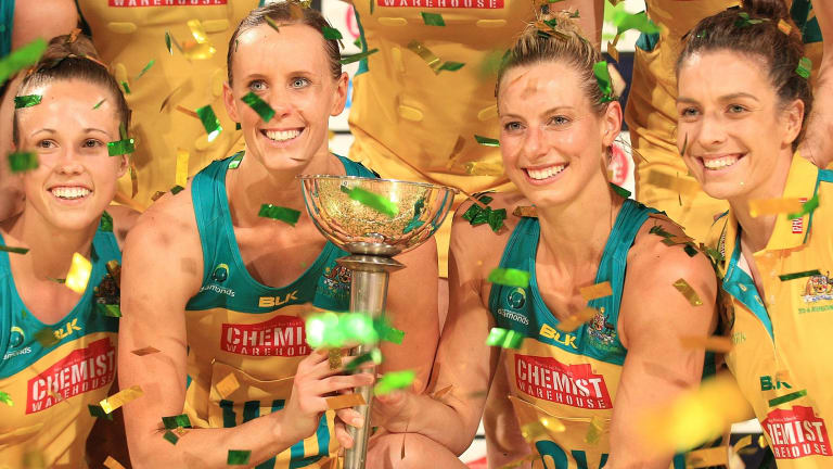 The Diamonds with the trophy after the fourth and final game of the Constellation Cup.