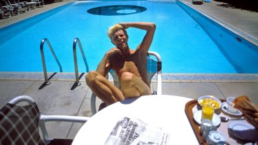 David Bowie poolside at a Melbourne hotel.
