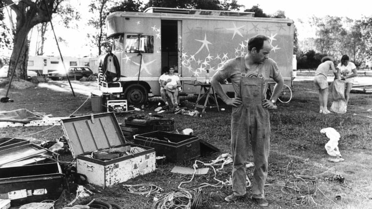 Tim Coldwell with Circus Oz equipment in 1981.
