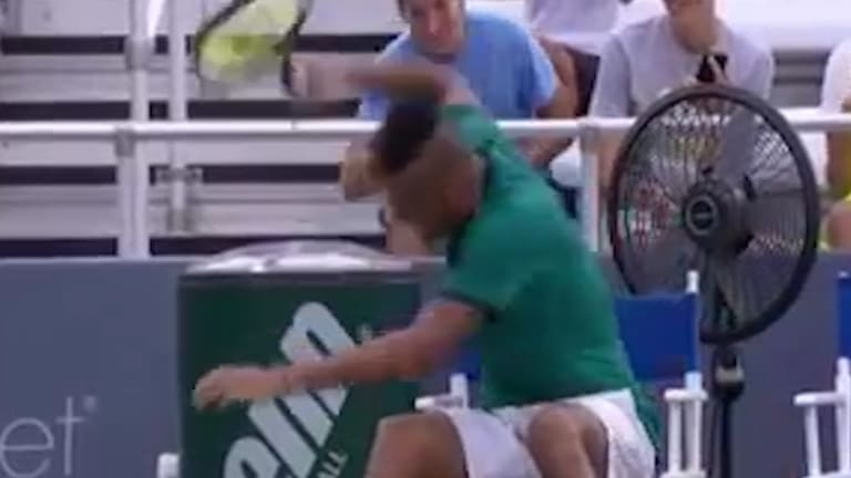 Nick Kyrgios smashed three racquets in quick succession.