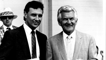 Craig Emerson with the then prime minister Bob Hawke at the Randwick races in 1988. Besides politics, Emerson was also close to Hawke personally, often seen as a surrogate son.