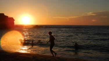 Swimmers hit Coogee Beach just after 6am, when the temperature was already 27 degrees.