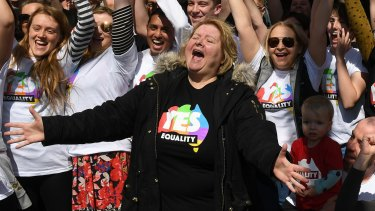 Magda Szubanski launching the Yes vote campaign in Melbourne on Sunday.