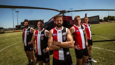 Helicopter leadership: (From left) Dylan Roberton, Jack Steven, captain Jarryn Geary, Jack Newnes and Seb Ross.