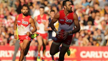 Sorry saga: Adam Goodes (right) was subjected to boos in Perth.