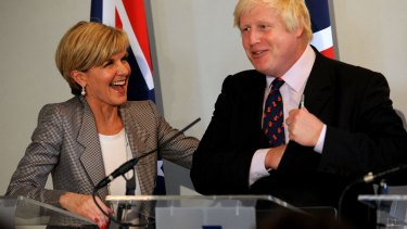 Australia's Foreign Minister Julie Bishop and Britain's Foreign Secretary Boris Johnson during their press conference in London.