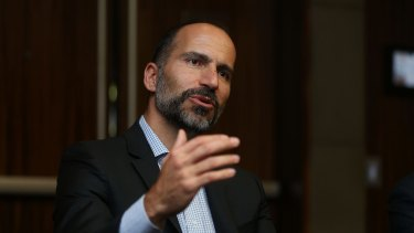 Chief apology officer: The ride-sharing company's new boss Dara Khosrowshahi.