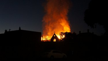 Reader Trevor took this photo of the fire at the Brighton church.
