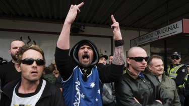 'Patriots' at a protest against a Bendigo mosque last year.