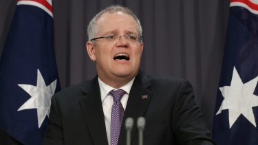 Treasurer Scott Morrison announces an inquiry into the PRRT at Parliament House on Wednesday.