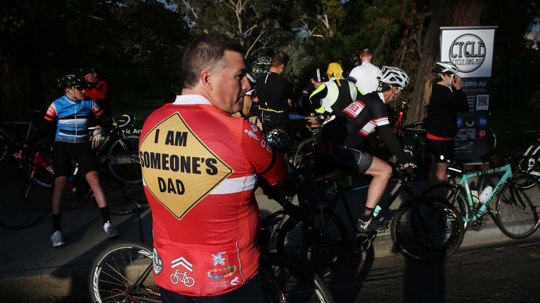 One of the bike riders who rode a 13km circuit around Kew Boulevard to protest against someone who had been laying tacks on the road.