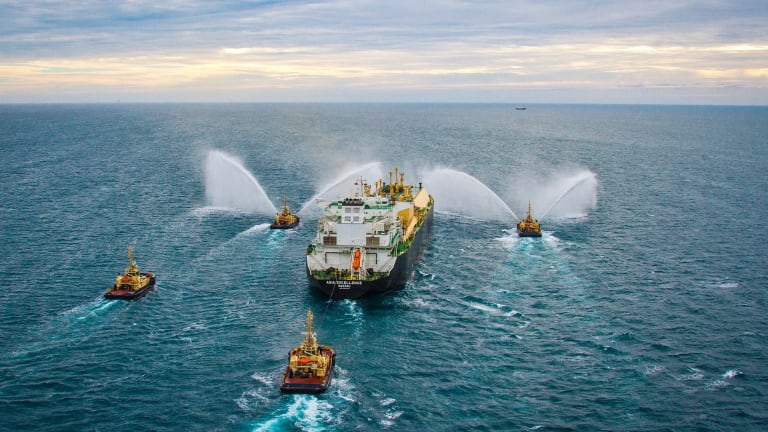 The Asia Excellence carries the first LNG cargo shipped from Chevron's Gorgon LNG project in Western Australia.