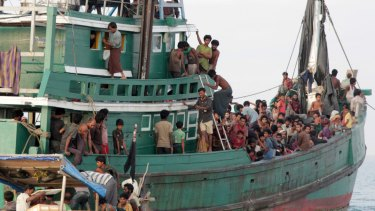 Rohingya and Bangladeshi refugees awaiting rescue by Acehnese fishermen off East Aceh, Indonesia, in May 2015.