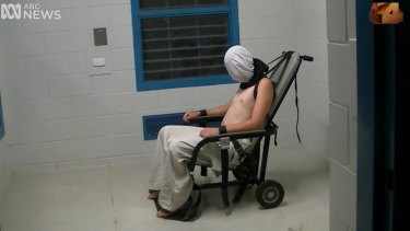 Dylan Voller in a restraining chair in the footage aired on Four Corners.