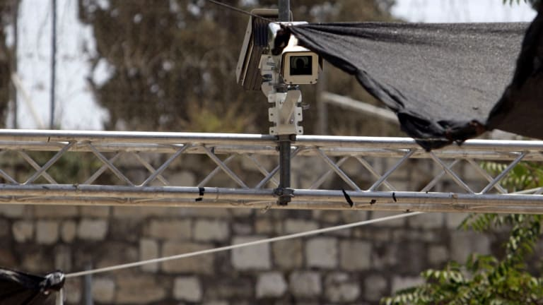 The security cameras at the holy site in Jerusalem's Old City.