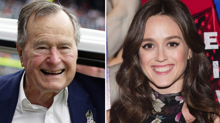 In this combination photo, former president George H.W. Bush in 2012 and actress Heather Lind.