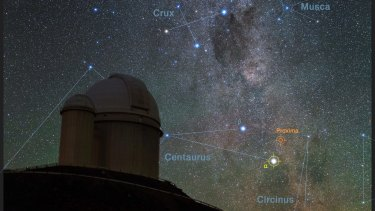 Southern skies over the ESO telescope in Chile with images of the stars Proxima Centauri and Alpha Centauri AB.