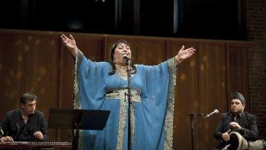 Farida Mohammed Ali performs at London's Barbican Centre at a concert celebrating Iraqi music.