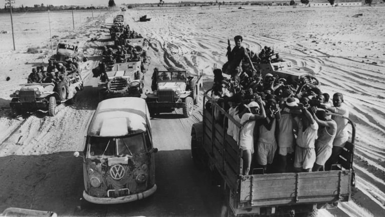 Israel rounds up Arab troops after the Six Day War.