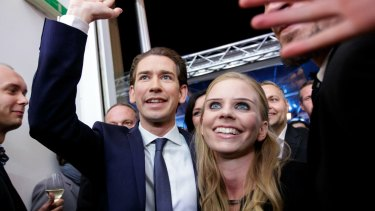 Austrian People's Party leader Sebastian Kurz celebrates his conservative party's victory last week.