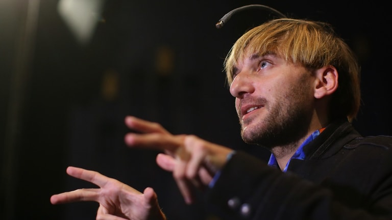 """""""Cyborg activist"""" Neil Harbisson """"hears"""" colour thanks to the eye implant protruding from his skull."""