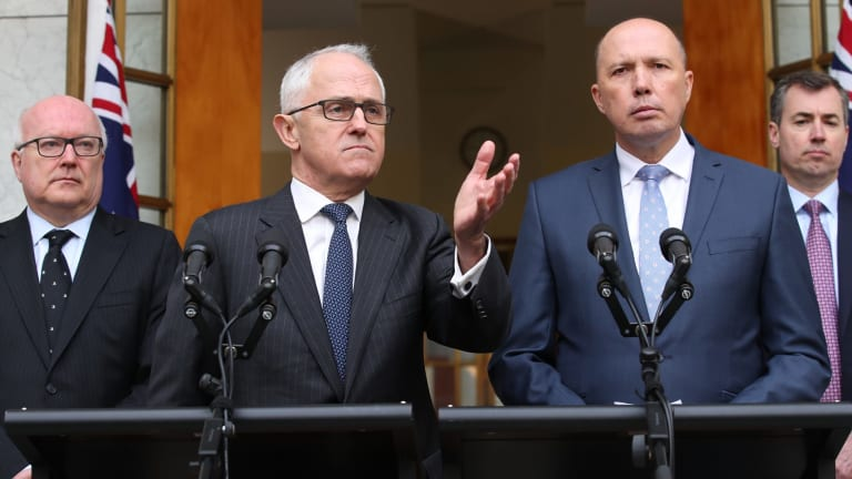 Questions of direction remain: Prime Minister Malcolm Turnbull announced Peter Dutton will become the Minister for Home Affairs at Parliament House in Canberra with Minister Michael Keenan and Attorney-General George Brandis.