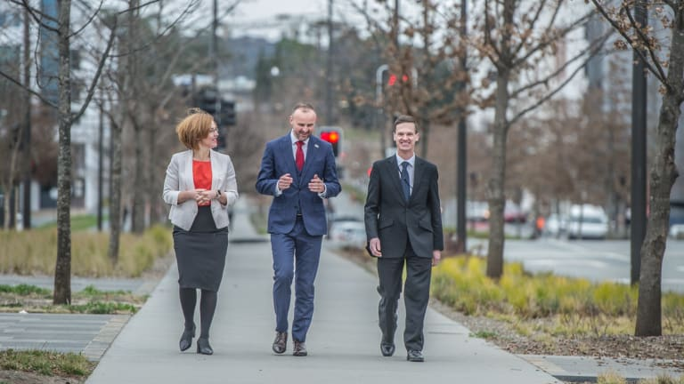 Chief Minister Andrew Barr (centre) announces UNSW plans to set up a new city  campus. Mr Barr walking along Constitution Avenue with higher education minister Meegan Fitzharris and UNSW Canberra rector Professor Michael Frater UNSW Canberra rector.