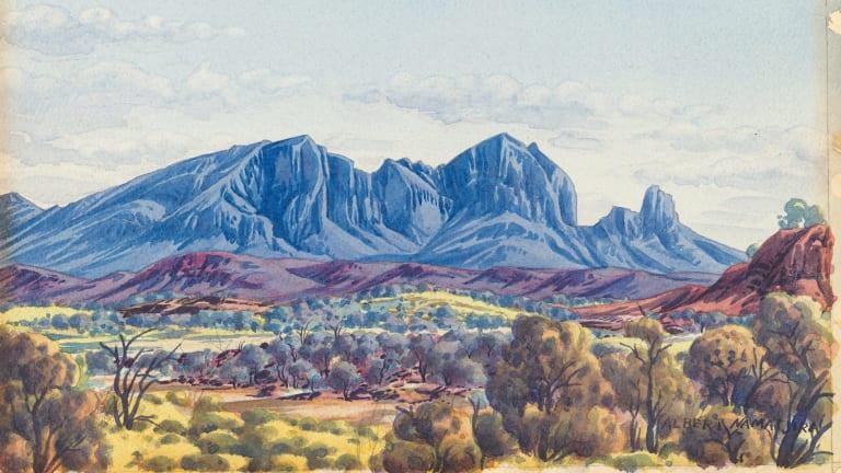 Albert Namatjira, Mount Sonder, West MacDonnell Ranges, Central Australia c. 1945, painting in watercolour over faint underdrawing in black pencil