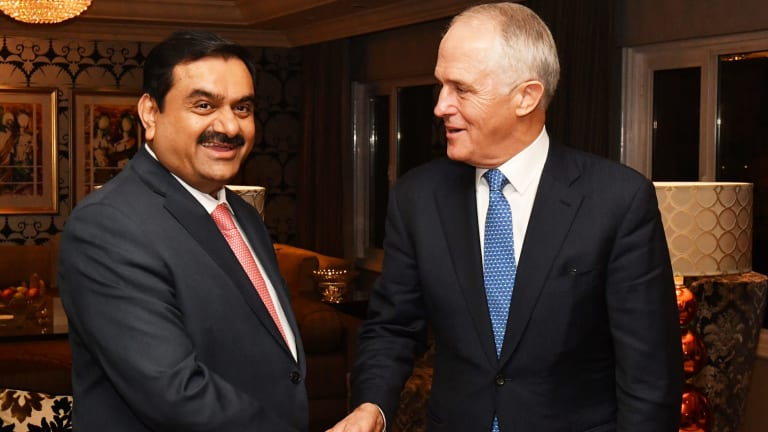 Adani Group founder and chairman Gautam Adani meets with Prime Minister Malcolm Turnbull in Delhi in April.