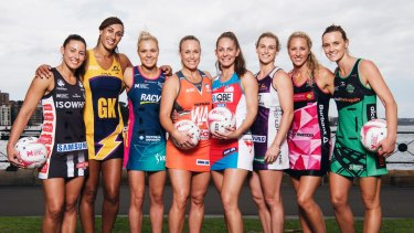 Captains of the Super Netball teams at the launch of the new league