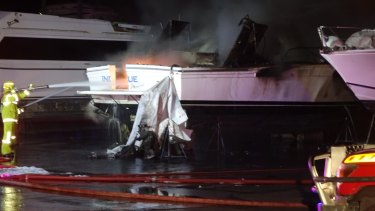 The boat at Mindarie Marina was engulfed by fire again on Wednesday.