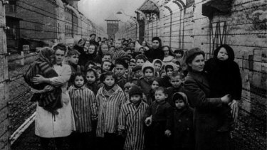Survivors of Auschwitz shortly after the concentration camp's liberation in 1945.