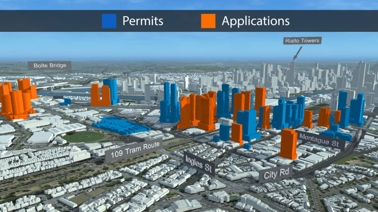 The taller towers in orange are set to be cut down in size under new planning rules for the Fishermans Bend area.