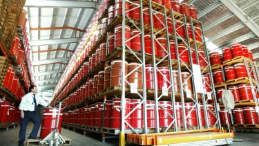 Stored drums of low-level radioactive waste at Lucas Heights in Sydney.