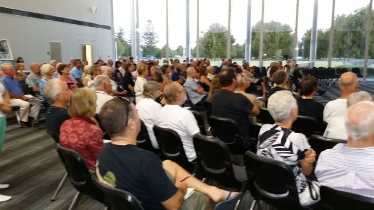 Rockingham residents gather at a public meeting hosted by the Hands off Point Peron group.