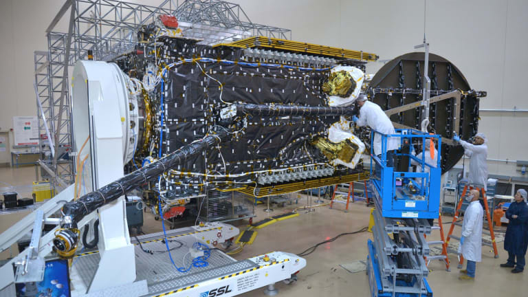 """The NBN's 6.4 tonne """"Sky Muster"""" satellite during the construction phase."""