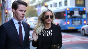 Oliver Curtis and Roxy Jacenko at his insider trading court case last year.