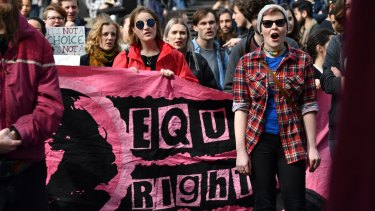 Students rally at the State Library of Victoria demanding the federal government legalise same-sex marriage.