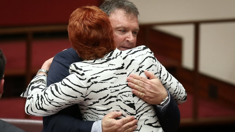 One Nation Senator Rod Culleton is congratulated by Pauline Hanson after giving his first speech in October.