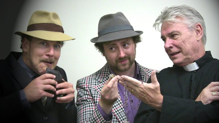 From left, gullible Nicia (Philip Meddows), con-man Ligurio (John Lombard), and slippery Father Timoteo (Tony Cheshire) devise an ethically questionable plot in The Mandrake Root.