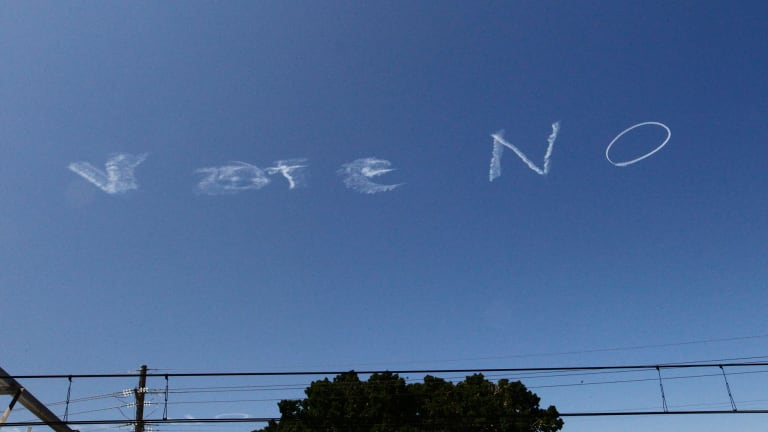 The social media reaction to the skywriting was colourful.