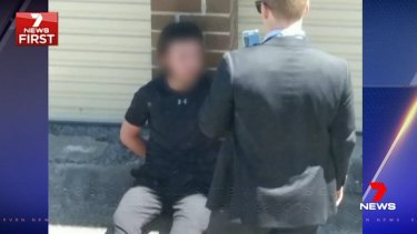 The 16-year-old, who cannot be identified for legal reasons, was arrested along with a friend, also 16, in a dramatic operation in Bankstown on Wednesday afternoon.