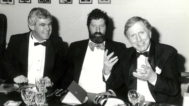 Judge Robert Toner (centre) with Jeremy Gormly (left) and Michael Kirby.